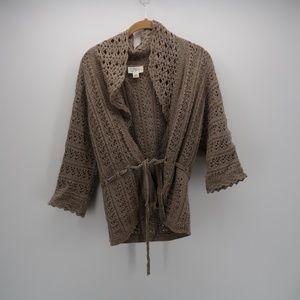 Ann Taylor LOFT Tie Belted Knit Sweater Cardigan